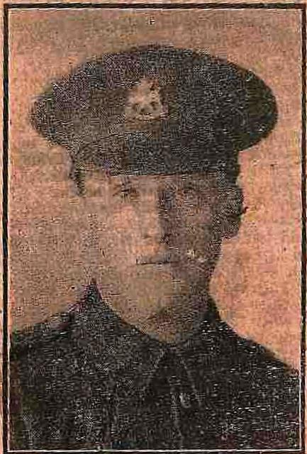 Local newspaper photograph. The caption reads 'Private Albert Bardill of the 9th Battalion Sherwood Foresters enlisted at Mansfield last August just after the outbreak of war. Previous to joining the Colours he worked at the Warsop Main Colliery and resided with Mr and Mrs B Lee of 1 Albion Street and is a resident of Calverton. During his course of training he has been stationed at Grantham and at Farnham Surrey having been at the latter place since Easter.'