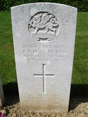 The commonwealth wargraves commission headstone marking HIS grave at Franvillers Communal Cemetery Extension , courtesy of Len@findagrave.co.uk