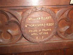Wooden memorial plaque in St Mary Magdalene Church, Hucknall, courtesy of Peter Gillings