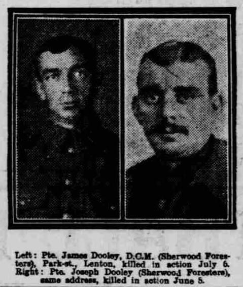 Photograph was published on 22nd September 1916 in the Nottingham Evening Post of  James Alfred Dooley and his brother Joseph Arthur Dooley and is courtesy of Jim Grundy and his facebook pages Small Town Great War Hucknall 1914-1918