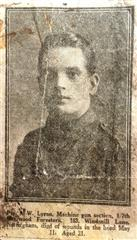 Caption: 'Pte AW Lumn, Machine Gun Section, 1/7th Sherwood Foresters, 183 Windmill Lane, Nottingham, died of wounds in the head, May 11. Aged 21'