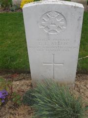 Edgar Laurence Allen  - Commonwealth War Graves Commission headstone marking his grave at Cabaret-Rouge British Cemetery, Souchez, Pas de Calais, France. Courtesy of Murray Biddle