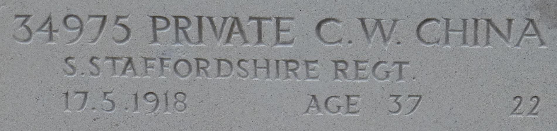 Photograph showing the name of Charles William China commemorated on the screen wall in the General Cemetery, Nottingham, courtesy of Jim Grundy and his facebook pages Small Town Great War Hucknall 1914-1918