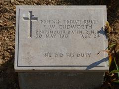 The commonwealth wargrave commission headstone marking the grave of Thomas William Cudworth at Lancashire Landing Cemetery, Capes Helles, Gallipoli is courtesy of Jim Grundy and his facebook pages Small Town Great War Hucknall 1914-1918