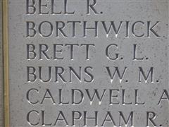 Photograph showing his name commemorated on the Helles Memorial, Gallipoli and is courtesy of Jim Grundy and his facebook pages Small Town Great War Hucknall 1914-1918