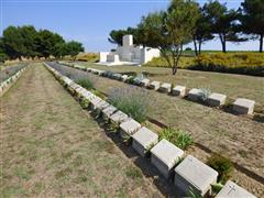 Photograph of Lancashire Landings Cemetery, Cape Helles, Gallipoli, James Reginald Henry Snow's grave is bottom right foreground, courtesy of Jim Grundy and his facebook pages Small Town Great War Hucknall 1914-1918