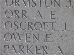 Photographic showing Jack Oscroft name commemorated on the Helles Memorial, Gallipoli and is courtesy of Jim Grundy and his facebook pages Small Town Great War Hucknall 1914-1918