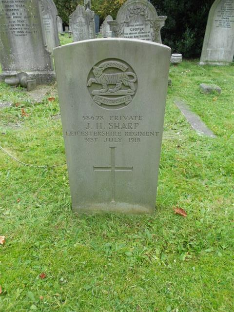The commonwealth wargraves commission headstone marking the grave of John Henry Sharp at St Magdelene Churchyard, Creswell,Derbyshire courtesy of Peter Gillings
