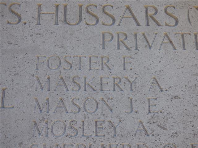 Photograph shows Frank Foster commemorated on the Helles Memorial, Gallipoli and is courtesy of Jim Grundy and his facebook pages Small Town Great War Hucknall 1914-1918