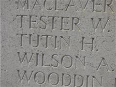Helles Memorial, Gallipoli - inscription of Harry Tutin's name.  Photograph courtesy of Jim Grundy and his facebook pages Small Town Great War Hucknall 1914-1918