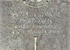 Photograph shows the commonwealth wargraves commission headstone marking the grave of Percy Brown in Becourt Military Cemetery and is courtesy of Vicky Walker