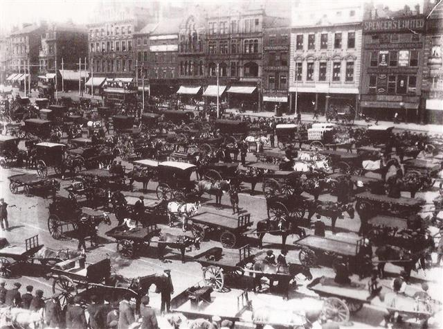 Nottingham's Great Market Place, now Old Market Square, around 1900