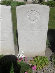 Commonwealth War Graves Commission headstone at Noeux-Les-Mines Communal Cemetery extension, Pas de Calais. Courtesy of Murray Biddle