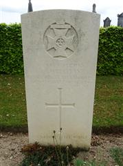 Photograph shows the commonwealth wargraves commission headstone marking he grave of Joseph Christian at Daours Communal Cemetery Extension, Somme, France and is courtesy of 'Len' findagrave website.