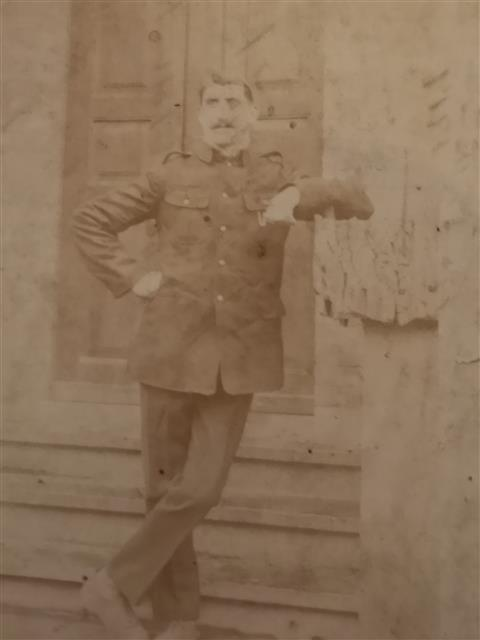 Photograph showing Edward Smith, taken during his time as a prisoner of war, it was sent from Hanover on Christmas Day 1917 to his wife Charlotte and is courtesy of his niece Kathleen Harrison