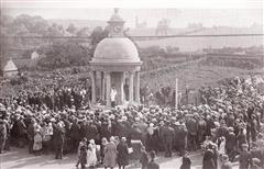 The unveiling of Kimberley's War Memorial in 1921 by the Reverend Frederick Hart. His son Charles Crowther Hart was one of sixty Kimberley men whose names appear on the memorial. Source: Old Kimberley by David Ottewell (Stenlake Publishing)