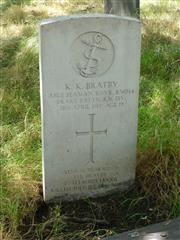 Commonwealth War Grave Commission headstone marking the grave of Kenneth Kennington Bratbury in Nottingham General Cemetery. Photograph courtesy of Jim Grundy, facebook pages Small Town Great War Hucknall 1914-1918
