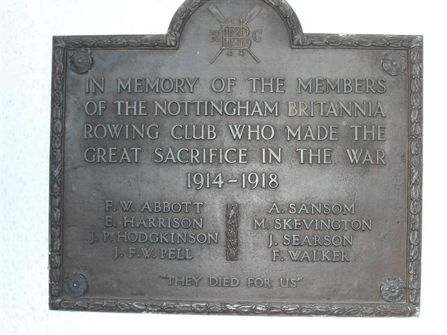 This plaque was erected to remember the members of the Nottingham Britannia Rowing Club who died in the Great War.