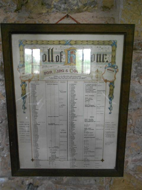 Shows the Roll of Honour of the parishioners who served and died in the 'Great war'