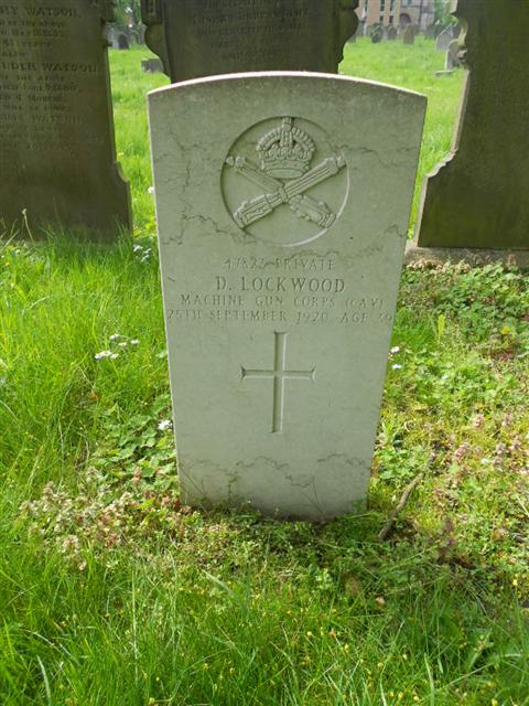 Photo showing commonwealth war grave headstone marking the grave of Dennis Lockwood  in Worksop Priory Cemetery  Photo taken by Peter Gillings