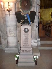 photo showing the stone lectern memorial at St Winifred's Church, Holbeck showing the names of the fallen.