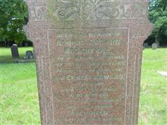 Close up of inscription of the family grave commemorating Albert Arthur Rosenthal in the churchyard of the Holy Trinity Church,Lenton