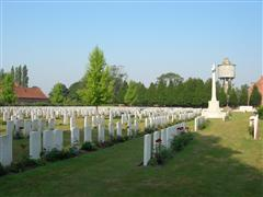 photo showing Menin Road South Military Cemetery where Harry Pridmore is buried in grave reference I H 31,courtesy of the CWGC