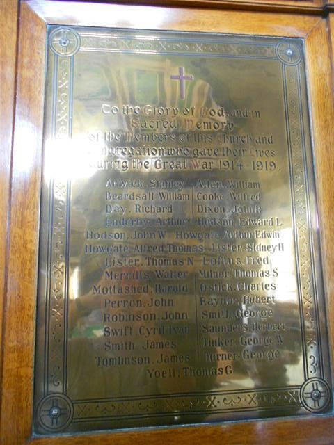 """Photo showing the War Memorial in Grove Street Methodist Church upon which the names of the 29 fallen members of the Congregation appear""