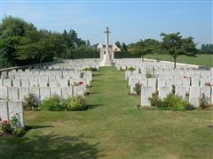 Photo shows Brandhoek New Military Cemetery where Eric Tebbutt is buried, photo courtesy of CWGC