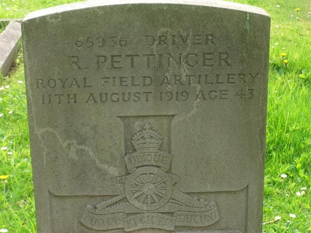 Photo shows the commonwealth war grave headstone for Robert Jospeh Clark Pettinger which is in the Misterton Cemetery,photo courtesy of the Misterton and West Stockwith  history group