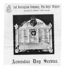 2nd Nottingham Company the Boys' Brigade (Dakeyne Street Lads Club).  Photograph of memorial on the cover of an Armistice Day service sheet.