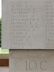 Commemorated on Theipval Memorial. Photograph Rachel Farrand