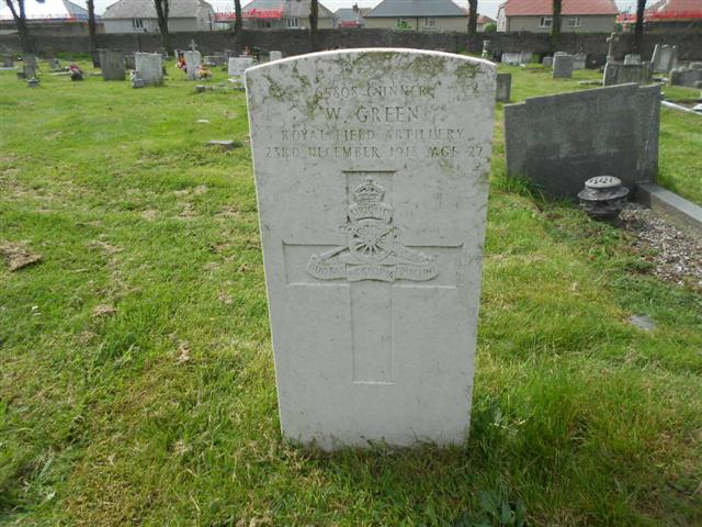 Commonwealth War Graves Commission headstone marking the grave of Wilfred Green at Retford Road Cemetery in Worksop.