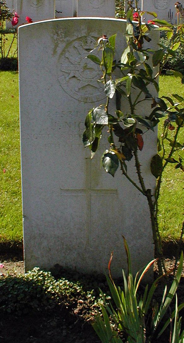 24531 Private Jeremiah was killed in action during the battalions attack on Poelcappelle on 4 October 1917. He was buried nearby and after the armistice re-interred at Cement House Cemetery, grave III.F.7. Visited, photo taken, wreath laid by John Morse