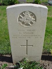13036 Private George Taylor died in Alexandria, possibly of illness and was buried in Alexandria (Chatby) Military and War Memorial Cemetery, grave K. 141. Many thanks to Ralph McClean for the photo and visit to George's grave.