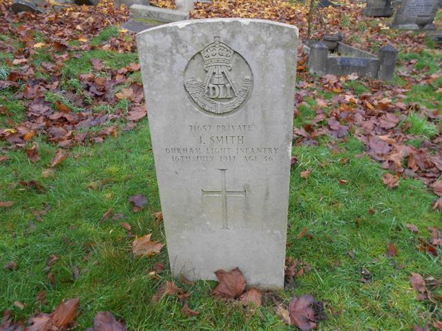 Commonwealth War Grave headstone marking the grave of John Smith in the Church (Rock) Cemetery, Nottingham.
