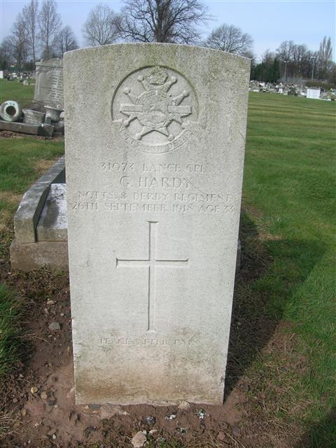 Commonwealth war grave headstone marking the grave of George Hardy at Hucknall Cemetery. photo courtesy of Peter Gillings