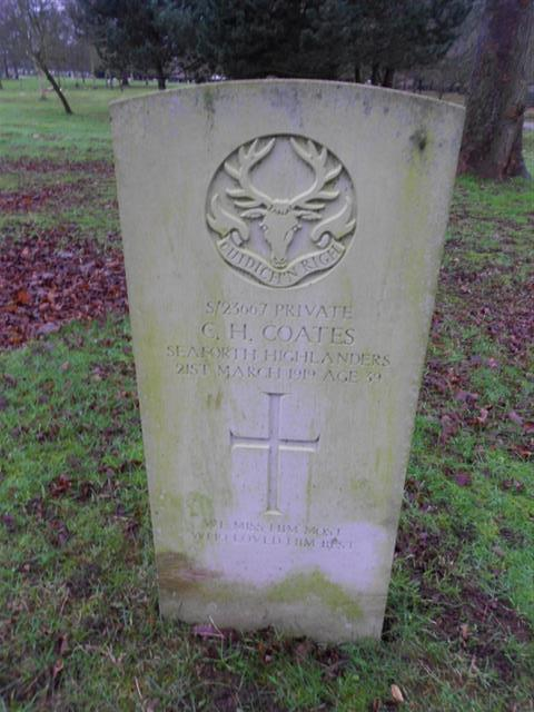 Commonwealth war graves headstone marking the grave of C H Coates at Nottingham Northern Cemetery. 