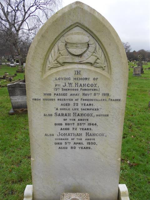 The family grave of the Hancock family where J W Hancock is buried in Nottingham Northern Cemetery. 