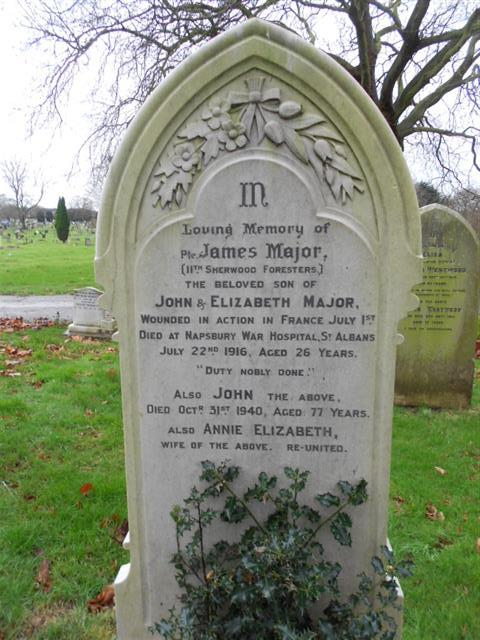 The family grave of the Major family where James Major is buried at Nottingham Northern Cemetery.