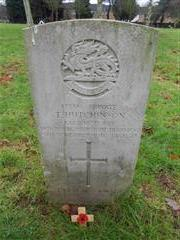 Commonwealth War Graves Commission headstone marking the grave of Thomas Hutchinson at Nottingham Northern Cemetery.