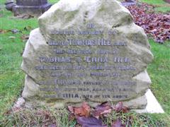 Close up of the inscription on the grave of Thomas Mee at Nottingham Northern Cemetery 