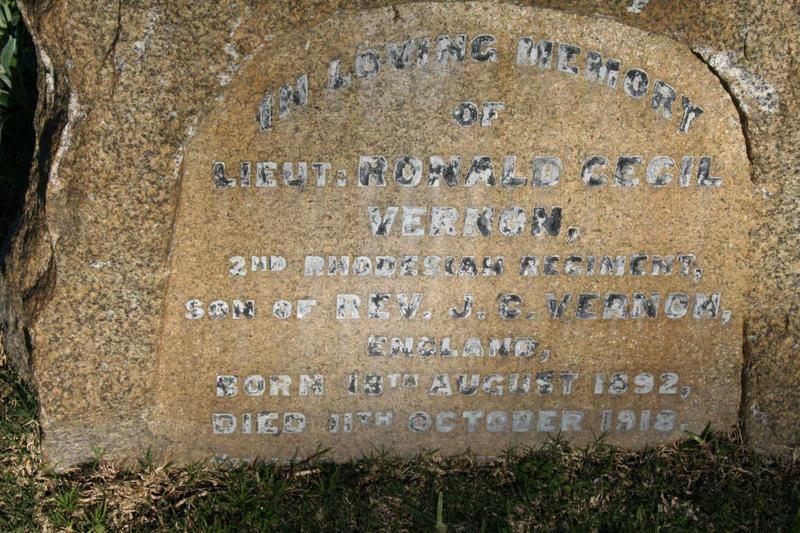 This is the headstone marking the grave of Ronald Cecil Vernon in Cape Town Plumstead Cemetery,South Africa.