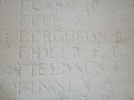 This photo shows the panel on the Thiepval Memorial upon which Frank Fletcher Fidler name appears