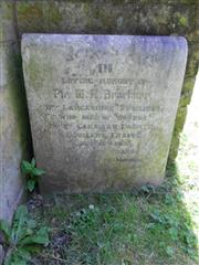 photo shows a commemorative headstone  commemorating William Arthur Brackner in St Mary Magdalene Church yard, Hucknall