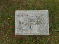 The headstone marking the grave of Frederick Charles Chamberlain at St Mary's churchyard , Bulwell.