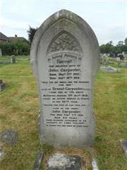This is a photo of the family grave of the carpenter family , commemorating Ernest Carpenter at Hucknall Cemetery. 