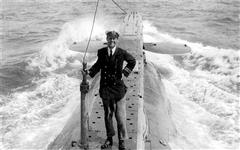 Lieutenant Commander Edward Courtney Boyle aboard E14. Boyle died in 1967 after being hit by a lorry.