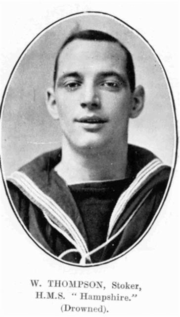 Photo of William Thompson who served on HMS Hampshire. 