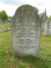 Family headstone of the Hallam family commemorating George Egbert Hallam in Worksop cemetery.